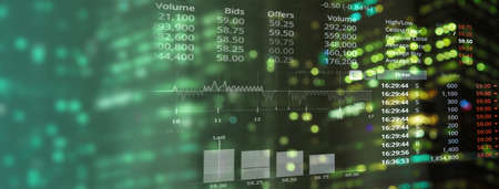business analytical data information for stock market trading on green glowing light banner background Imagens