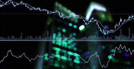 green blue stock trading graph line market on light city market business black background
