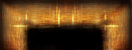 line of golden light in the black dark abstract banner background Imagens