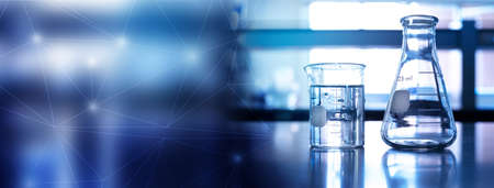 flask and beaker equipment in medical health science line of technology banner background