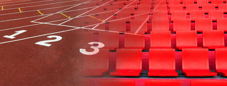 row of red seat in sport stadium and running tract for competition banner background Banque d'images