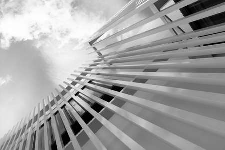 white grey line abstract structure modern minimalism architecture and sky background
