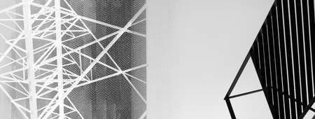 abstract line black and white metal industrial technology banner background