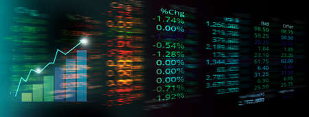 market trading stock and index number and analysis graph on glow blue red green digital technology blur light line banner business background