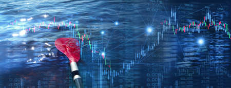 red rowing paddle in dark blue water with stock market business trading garph and index information in consistency concept banner background