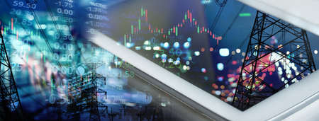 mobile phone or tablet with graph line of stock market trading business technology banner background
