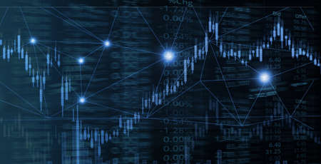 graph line of trade stock market and index number on glow blue light banner business technology background
