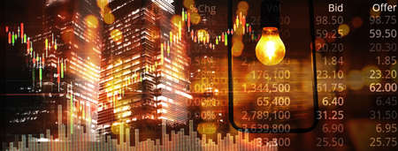 candle stick graph line of trade stock market and index number on glow blur buiding city lamp light banner business background Banque d'images