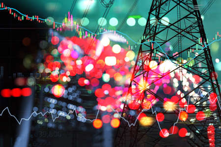 market stock graph and information with city green blue light and electricity and energy facility banner industry and business background