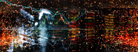 market stock graph line and information with city light and electricity and energy facility banner industry and business background