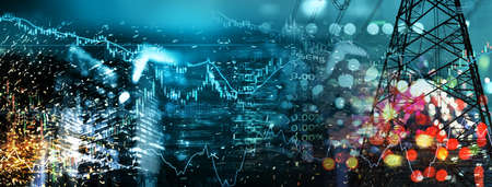 market stock graph and information with city light and electricity and energy facility banner industry and business blue banner background