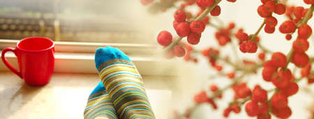 woman foot in blue sock with red coffee cup with window light and cherry fruit home interior banner background