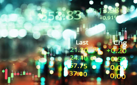 graph line of trade stock market and index number on glow blur city blue light banner business background