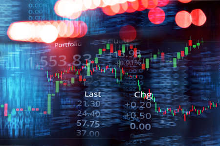 candle stick graph line of trade stock market and index number on glow blur city light blue banner business background