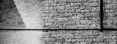 white grey rough brick abstract cement texture wall banner background Imagens