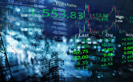 graph line of trade stock market and index number on glow blur city light and elwctric power line blue business background