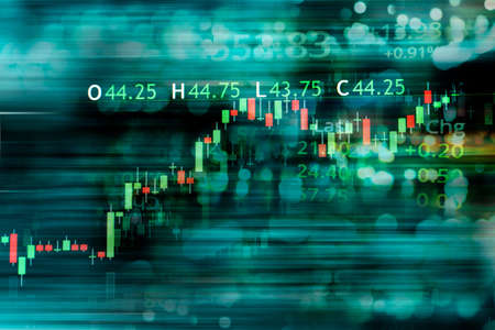 index number and ticker red and green graph of trade stock market and index number on blue glow blur light wealth banner business background
