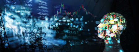 market trading stock index number and graph on black blue digital technology blur city light line and head of human in artificial intelligence or AI technology concept banner business background