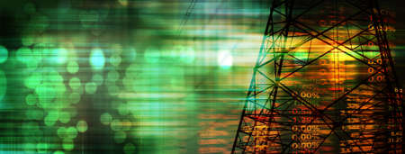 index number of stock market with electric tower energy industry business concept banner background