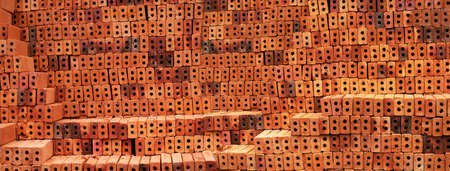 texture orange red old brick for construction banner background