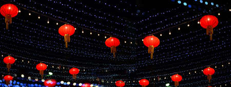 colorful red Chinese new year decoration lamp and glowing dark night light banner background Imagens - 164460338