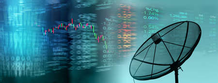 index number of stock market with satellite dish tele communication business concept banner background