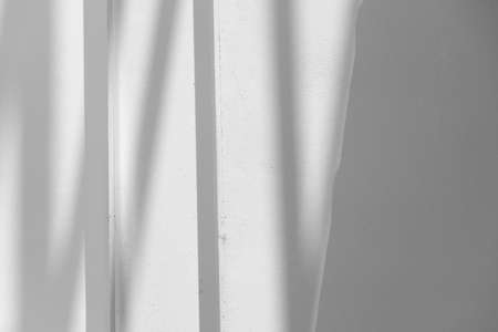 white and grey light and shadow on line detail white minimalism style of home interior architecture background Imagens - 165376792