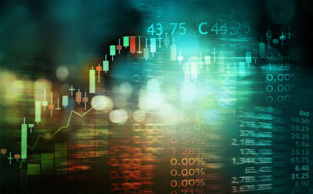 bokeh blue city light and index number and graph of stock market business abstract background