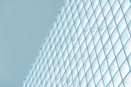 pastel white blue geometric architecture building abstract background
