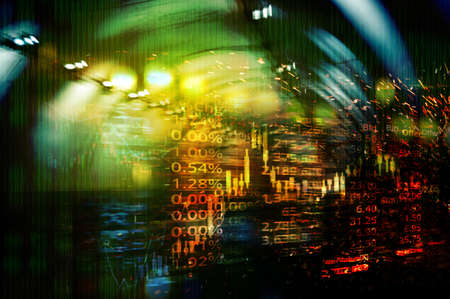 blur orange green blue glowing light and index number of stock market business  abstract background