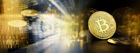 glowing golden bit coin model with coin money stack and stock market graph for crypto currency finance business on banner background