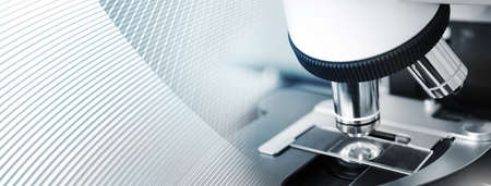 compound microscope and curve modern white line in medical science lab banner background Standard-Bild
