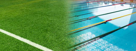 green artificial football field and summer blue swimming pool tract banner background Standard-Bild