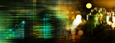 index number of trade stock market and graph on blue and gold blur light wealth banner business abstrack technology background