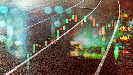 competition running track with blue city street light and index number and graph of stock market sport business abstract background