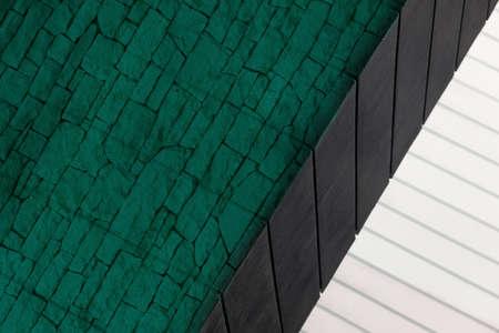 white and black line of architecture building with dark green brick background Standard-Bild