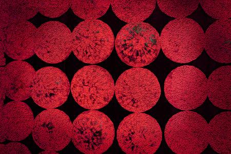 dark red round rough texture abstract on black background
