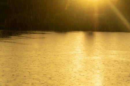 raining into the lake with orange sunlight nature landscape background