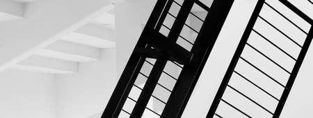 modern  white architecture structure and black metal line minimalism banner background Standard-Bild