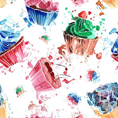 흰색 배경에 화려한 수채화 컵 케이크의 원활한 패턴