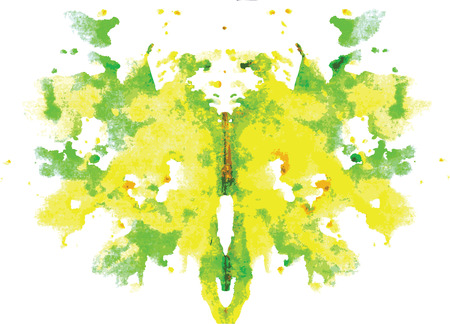 watercolor symmetrical Rorschach blot on a white background