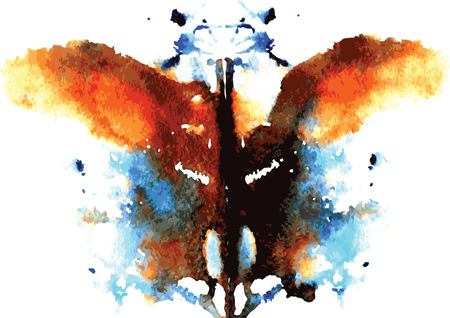 mental: watercolor symmetrical Rorschach blot on a white background