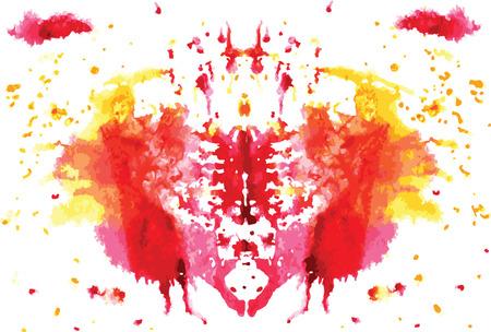 흰색 배경에 수채화 대칭 Rorschach 오 점 일러스트
