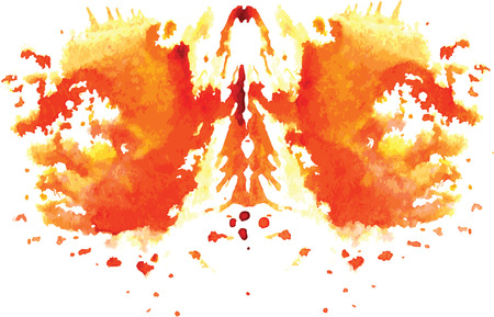 medical test: watercolor symmetrical Rorschach blot on a white background