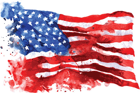 Flag of America, hand-drawn watercolor on white background
