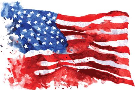 Vlag van Amerika, met de hand getekende aquarel op een witte achtergrond