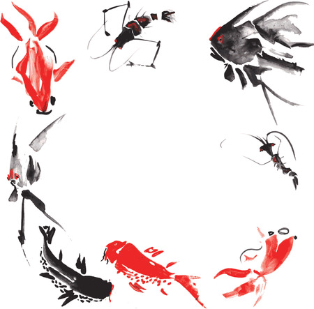 очаровательный: Морская жизнь, такие как - креветки, рыбы-ангелы, мраморной карпа, золотой рыбки, сом, проведенной в стиле китайской живописи, плавать на белом фоне, представляя очаровательную оживленную круг Иллюстрация