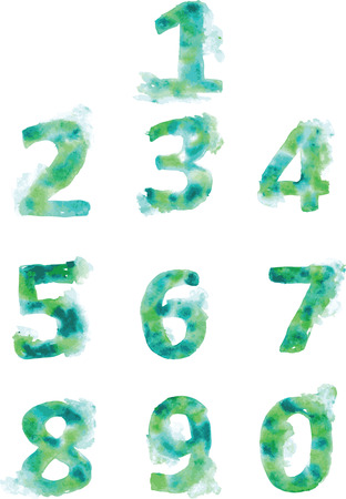 bluegreen: Alphabet, numbers and punctuation , hand- painted blue-green and turquoise shades on a white background Illustration