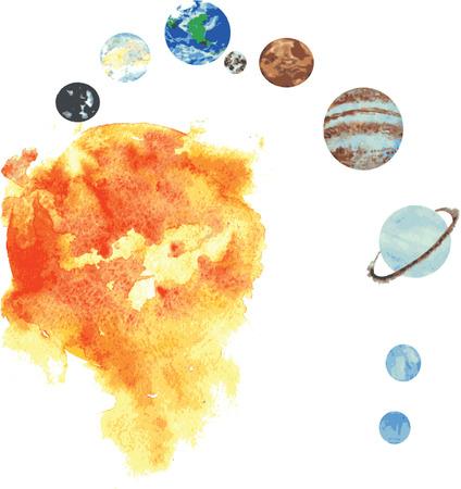 all the planets of the solar system , hand -drawn watercolor - Sun, Mercury , Venus, Earth and its companion moon , Mars, Jupiter , Saturn, Uranus , Neptun