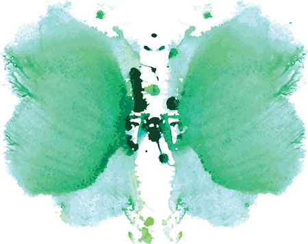 blot: watercolor symmetrical Rorschach blot on a white background